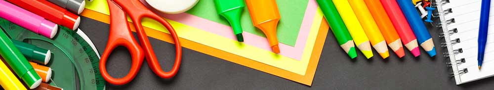 Picture - School supplies on grey background